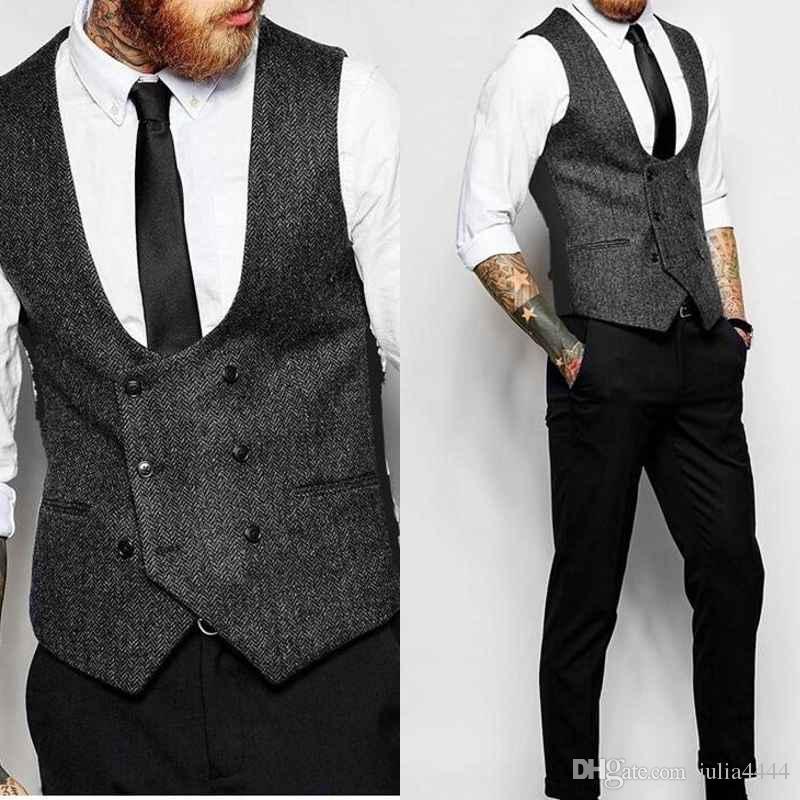 a269bd7ea5b New Dark Grey Double Breasted Vest Suit Herringbone Mens Vests Striped Slim  Fit Waistcoat British Vintage Blazer Sleeveless Jacket Summer Vests ...