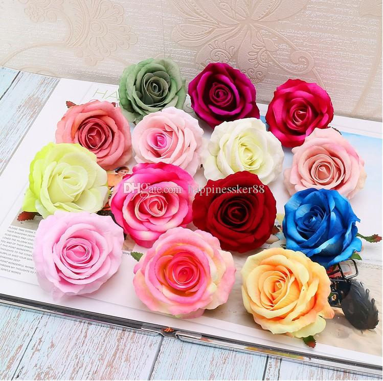 50PCS/(9 cm) artificial silk roses red head home decoration wedding DIY tracery wall collage decorative artificial flowers