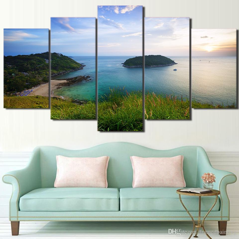 5 Panel HD Printed Canvas Art Green Island Landscape Painting Wall Pictures Modular Framed Painting Free Shipping