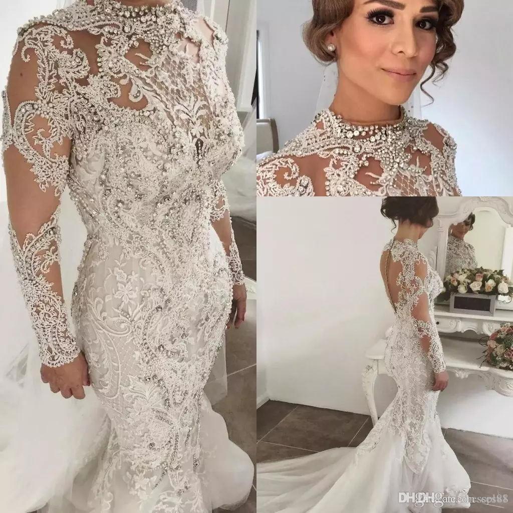 Designer Bling Bling Beaded Wedding Dresses Mermaid High Neckline Long Sleeves Sweep Train Bridal Gowns Custom Made Bohemian Wedding Dress