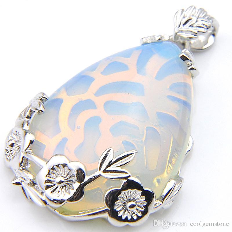 Luckyshine 27 * 25 mm 6 sztuk / partia Classic Water Drop White Moonstone Gemstone Srebrny Wisiorek Daily Biżuteria Kobiety Naszyjniki Wisiorek