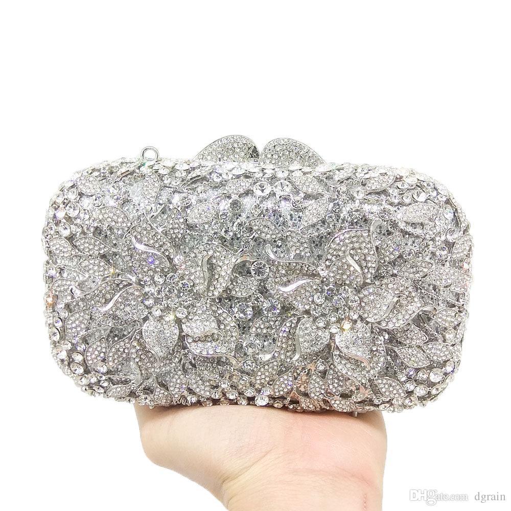 Dgrain Großhandel berühmte Marken-funkelnde Diamant-Kristallfrauen-Abend-Geldbeutel aushöhlen Braut Hochzeit Handtasche Metall Minaudiere Clutch