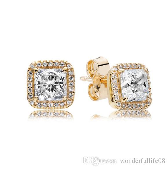 925 Sterling Argent Carré Grand CZ Diamant Boucle D'oreille Fit Pandora Bijoux En Or Rose Plaqué Boucle D'oreille Femmes Boucles D'oreilles