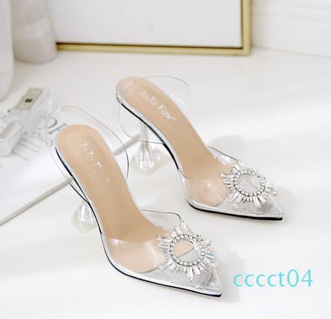 Il formato più 35 a 40 41 lusso rhinestone chiaro tallone punta aguzza PVC bobina scarpe da sposa design di lusso tallone CT04