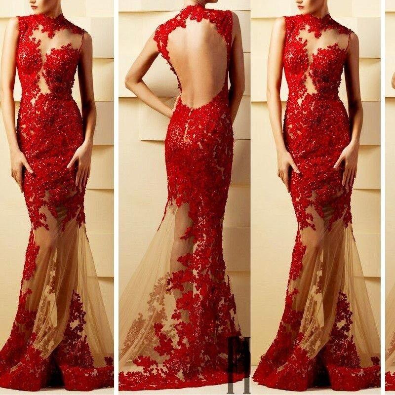 Illusion Sexy dentelle Sheer sirène soir Appliques Robes de bal Longueur étage robes de Party Custom Made