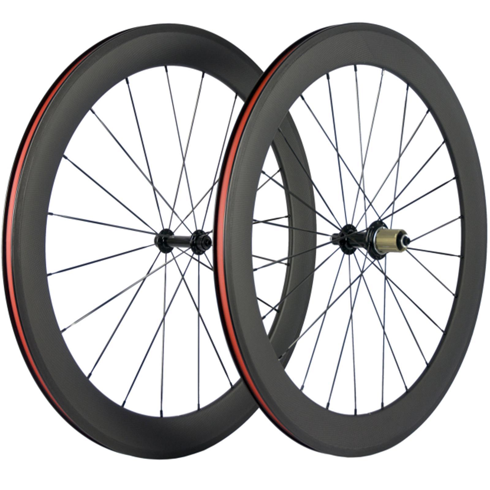 700C Clincher carbono Wheelset 60 milímetros Profundidade Road Bike Rodas 3k Superfície Matte Com basalto Brake Rodas 23 milímetros Largura