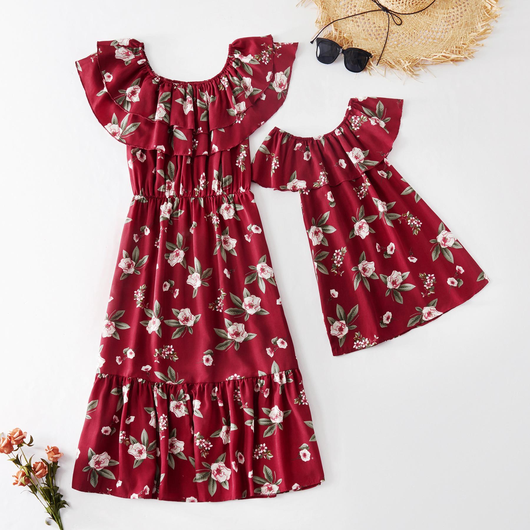 2020 جديد الصيف الأم و me الأزهار شبكة تانك اللباس الأخت رومبير لأم فتاة مطابقة الطفل