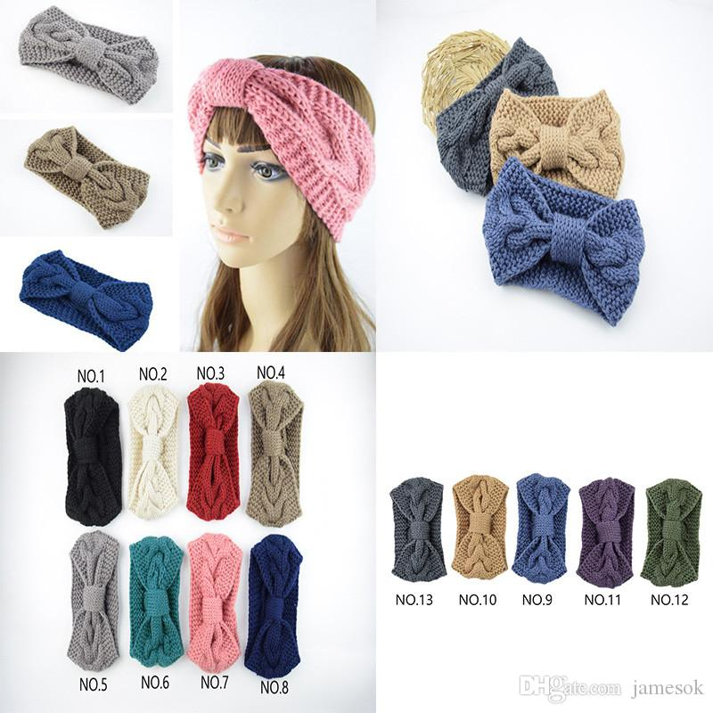 Bow Twist Weithaarbänder Damen Feste Winter-Crochet Knitting Warm Stretch-Stirnband-handgemachte Haar-Zusätze für Frauen dc984