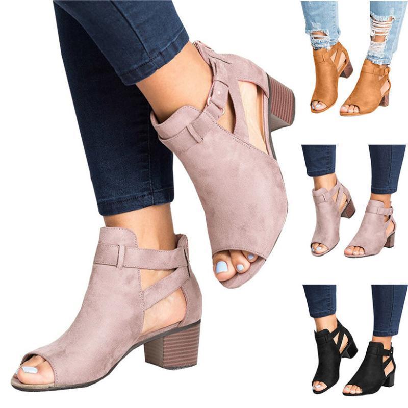 Womail Mujeres punta abierta sandalias ShoesSpring verano señoras de las mujeres sandalias cuadrado de la manera Zapatos de tacón boca de los pescados ahueca hacia fuera a Roma