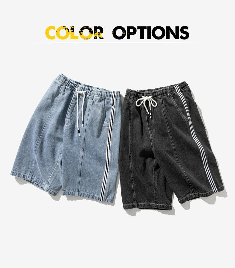 Moda Erkekler Jean Yaz Casual Hip-hop tarzı yeni tasarımcı eğilim gevşek düz bacak beş dakikalık pantolon İki-colorer seçilen Boyut M-8XL