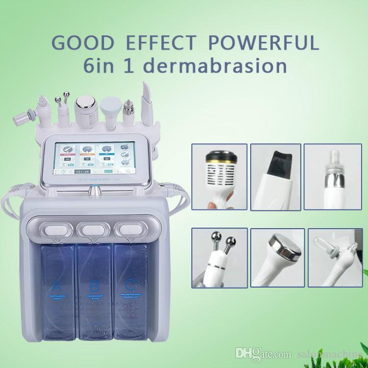 2019 6in1 BIO 피부 리프팅 산소 스프레이 얼굴 물 dermabrasion 필 링 장비 초음파 피부 관리 회춘 아름다움 기계