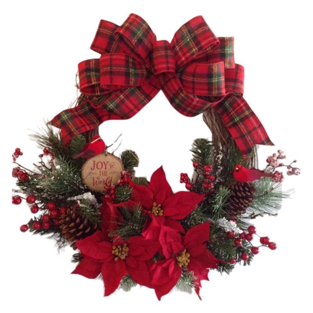 Corona di Natale rotonda Handcrafted Capodanno elegante festa Corona Pine Corona per parete Garland decorazioni T191107