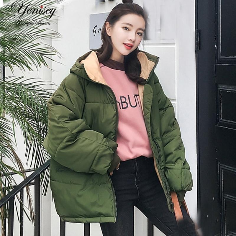 Übermaß 2019 Real New Voll Zipper Fest Art und Weise Baumwolle Cotton-gepolsterte Jacke Mehr Big Yards mit Kapuze Warm Q17 Winterjacke Frauen V191025