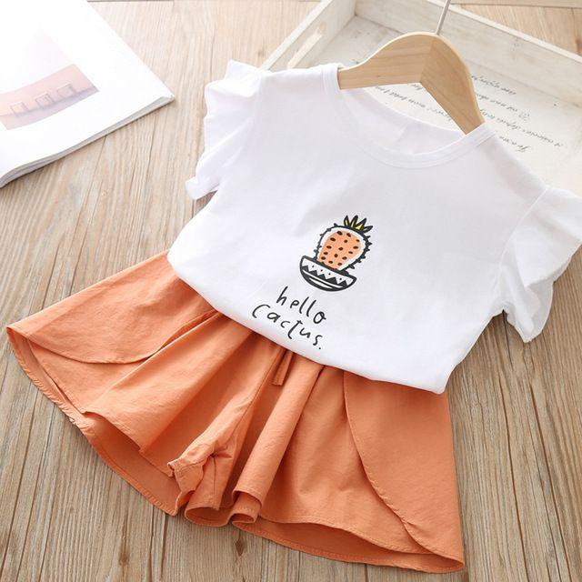 Bambino Estate 2020 bambino sveglio della neonata del capretto lettera stampata maglietta neonate vestiti Set Top maglietta + bicchierini di Ropa Nina
