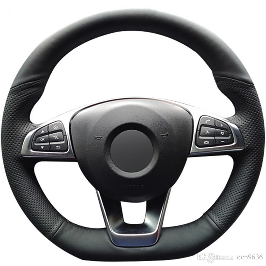 Черный натуральная кожа крышка рулевого колеса автомобиля для Mercedes-Benz C200 C250 C300 B250 B260 A200 A250 Sport CLA220