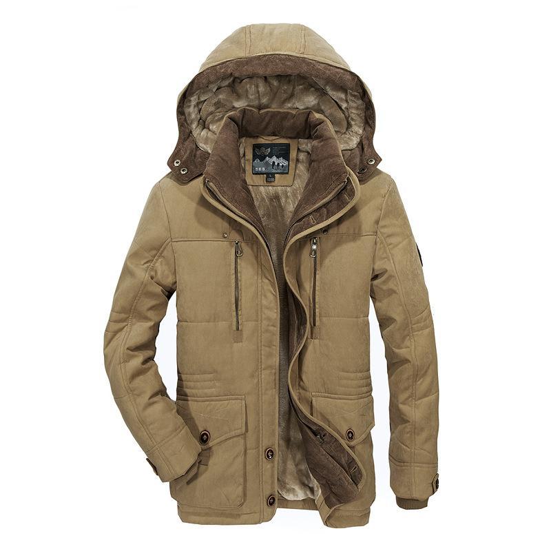 TIEPUS giacca invernale spessore caldo multi-tasca uomo di mezza età con cappuccio cappotto parchi degli uomini più il formato militare cappotto T200319 4XL 5XL 6XL degli uomini