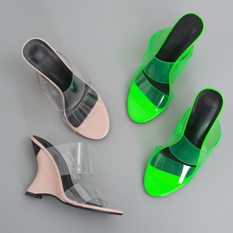 2020 NOUVEAU été Loisirs PVC transparent Chaussons Chaussures Wedges femmes à talons hauts pantoufles Slip sur les diapositives rose vert 35-42
