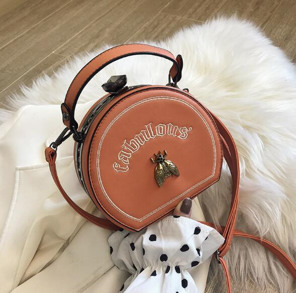 New Style Women Bag Fashion Embroidery Bee Shoulder Bags Small Handbag Small Round Crossbody