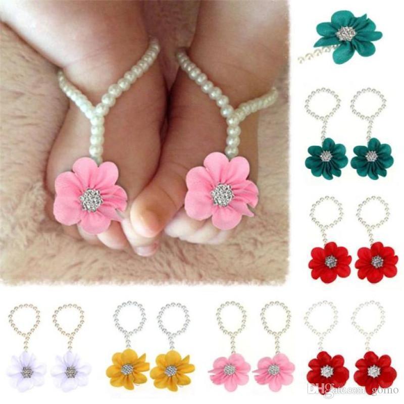 Infantile all'ingrosso modo del bambino Piedi Accessori 1Pair Pearl Chiffon A piedi nudi del bambino del piede del fiore Beach Sandals Rosa Blu