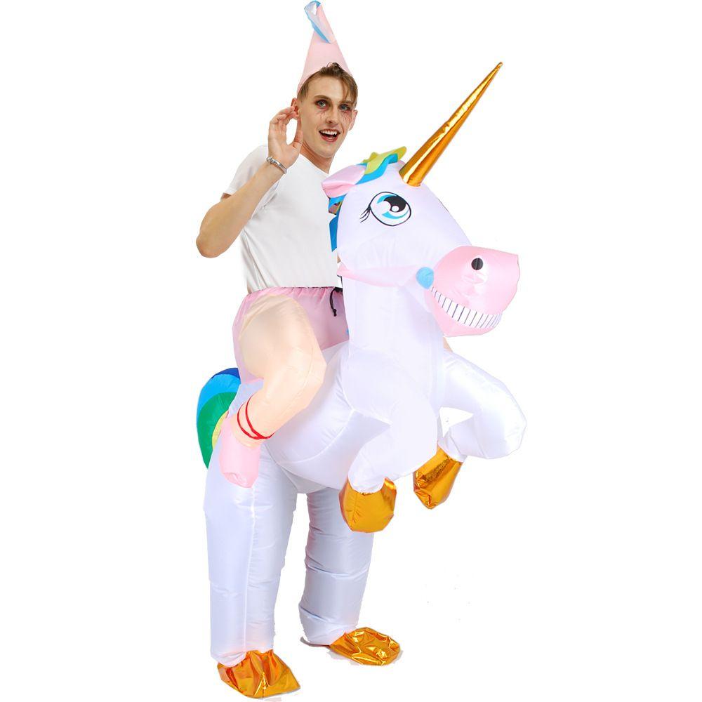 Unicorn Надувной костюм Blow Up костюм костюм Halloween партии Cosplay Рождество Horn наездница Надувной костюм