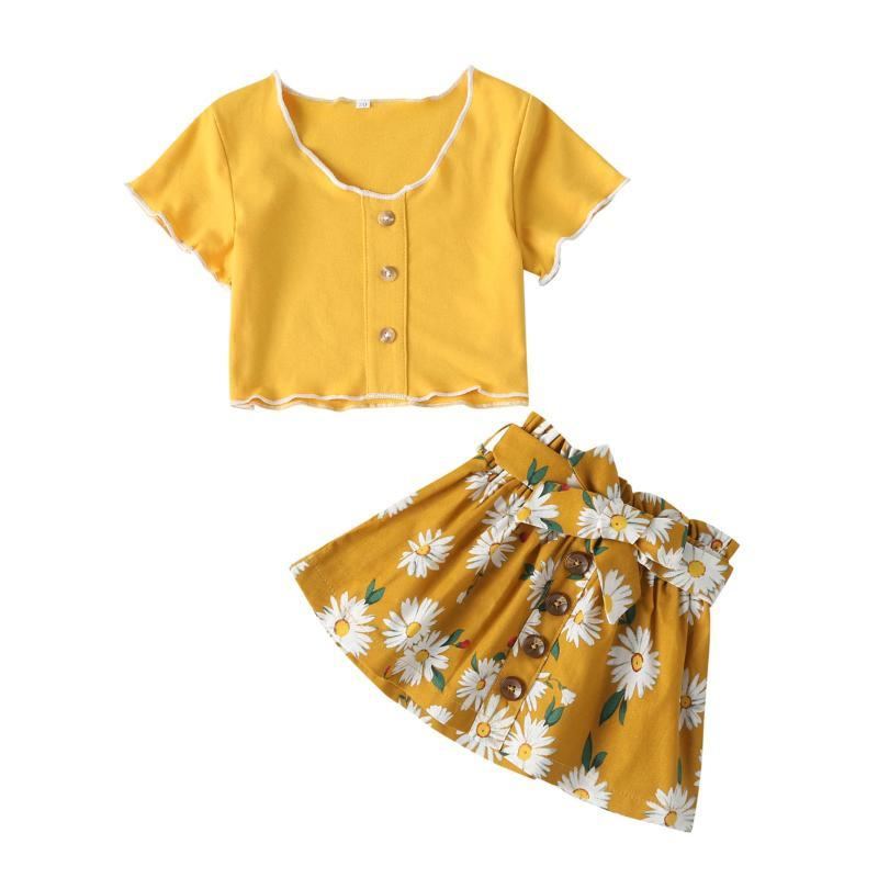 2pcs Toddler Kids Baby Girl Clothes Set Tops T Shirt Mini Skirts Outfit Party Set