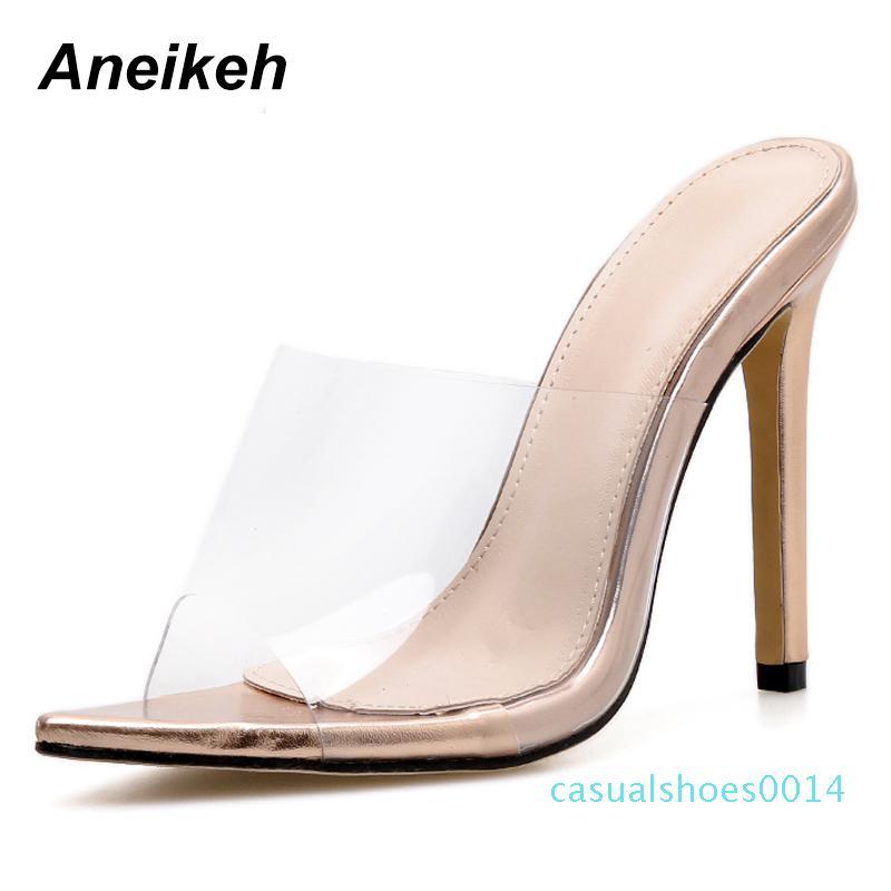 Aneikeh 2019 Transparente Damen Sandalen Schuhe Art und Weise reizvolle geöffnete Zehe spitze Stiletto Absatz-Sommer-Sandalen Flache Schuhe mit hohen Absätzen c14