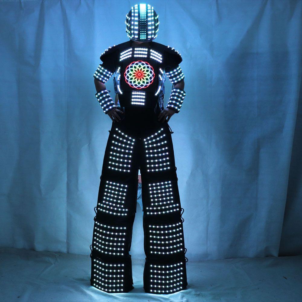 Ha Condotto La Luce Robot Costume abbigliamento Traje De Robot LED trampoli Walker giacca evento kryoman costume LED disfraz de robot