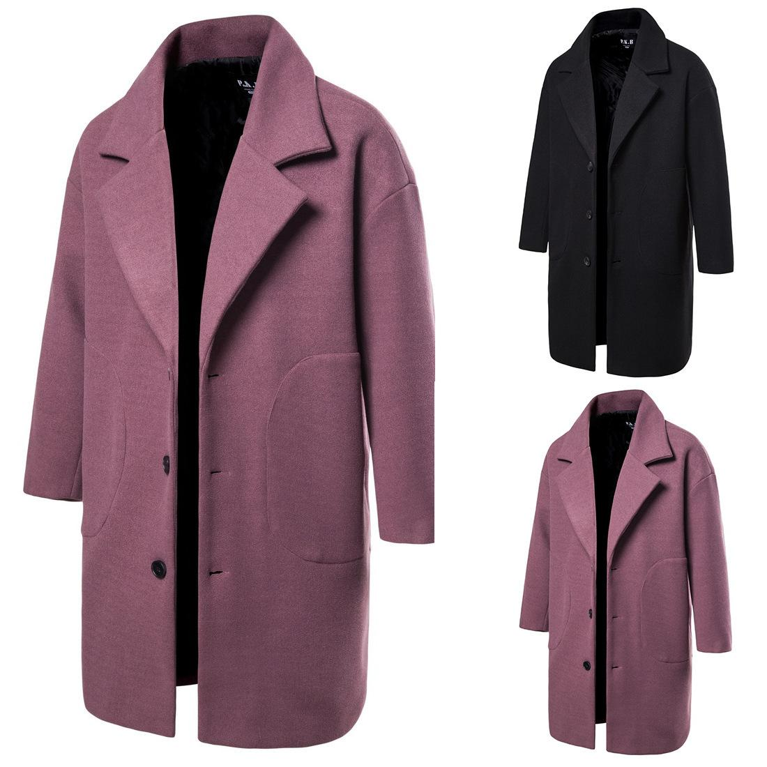2019 Autumn And Winter Trench Coat Men Mid-length Woolen Jacket Solid Color Single-Breasted Trench Coat Coat