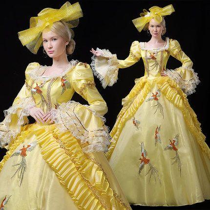 Real bordado amarillo con volantes bordado de aves de lujo reina rococó corte real vestido de bola Vestido medieval Vestido renacentista Victorian Belle Ball