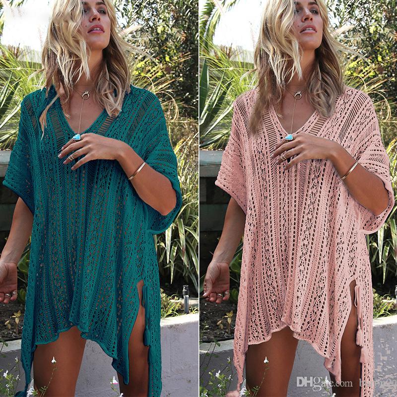 2019 New Beach Cover Up Bikini Crochet 니트 술 타이 Beachwear 여름 수영복 Cover Up Sexy See-through Beach Dress