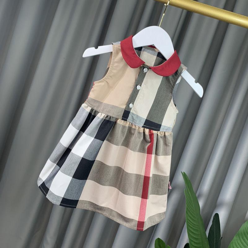 فتاة الصيف اللباس الشبكة أزياء فستان الشمس بلا أكمام كاكي ملابس الأطفال نمط جديد ريترو بسيط التنورة 1-7T
