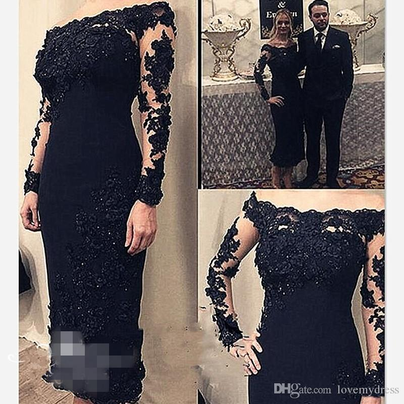 2021 Black Applique Beaded Lace Mother Of The Bride For Wedding Boat Neck Illusion Long Sleeve Party Dress For Groom Dress Sheath
