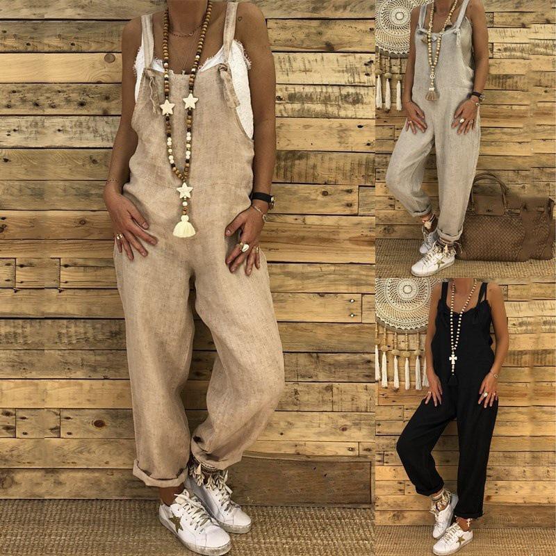 Vintage Linen Cotton Jumpsuit 2019 New Spring Women Casual Loose Pants Ladies Strap Harem Trousers Overalls Fashion Harem Pants