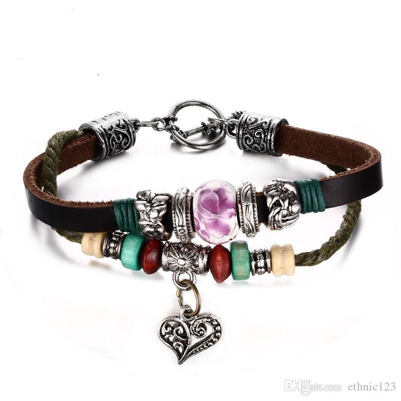 Stile retrò fatto a mano da donna in pelle braccialetto cuore perline di porcellana con coulisse braccialetto braccialetto gioielli regalo per le donne ragazze J152