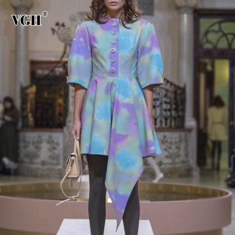 toptan Şık Asymmetircal Prin Elbiseler Kadın Ç Boyun Yarım Kol Yüksek Bel Düzensiz Hem Yaz Elbise Kadınlar Moda Giyim Tide