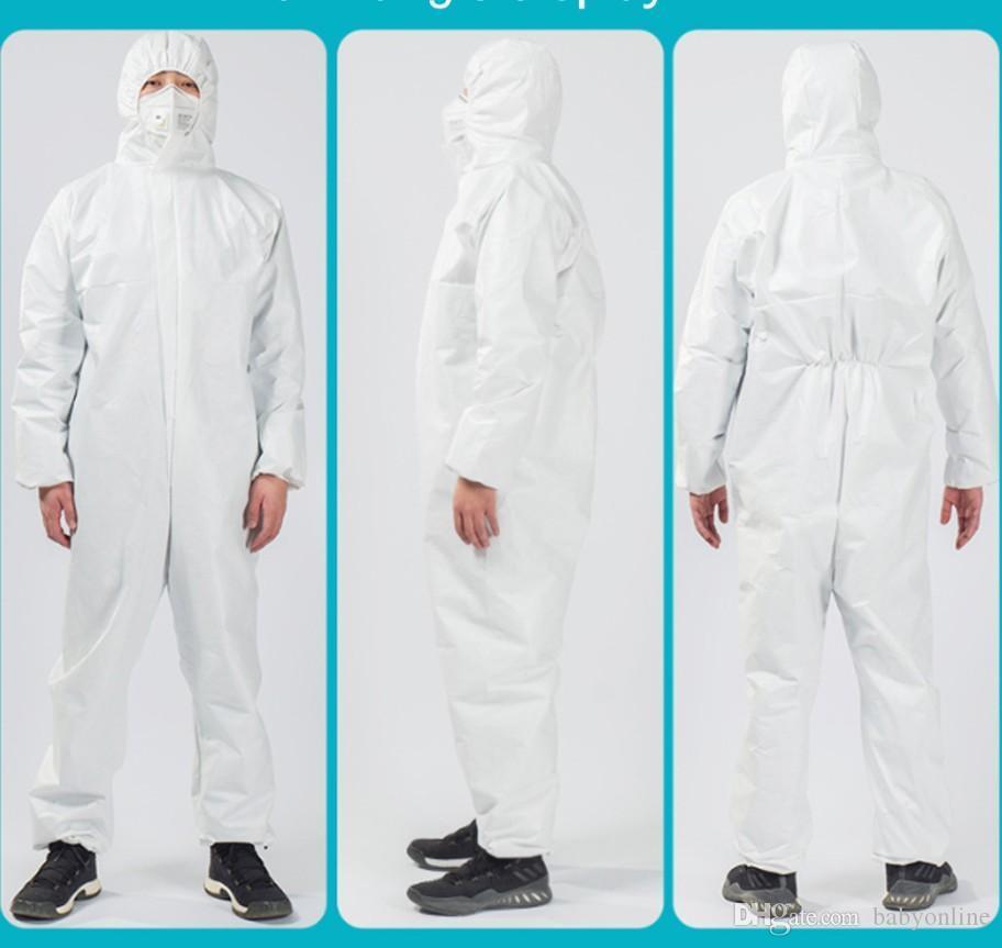 Livraison gratuite blanc non tissé anti-poussière Combinaison de protection chimique Vêtements antibactériennes anti-poussière usine du personnel de laboratoire Robes FY4040