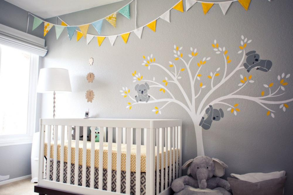 Koala Family on White Tree Branch Vinyls Wall Stickers Nursery Decals Art Removable Mural Baby Children Room Sticker Home D456B T200601
