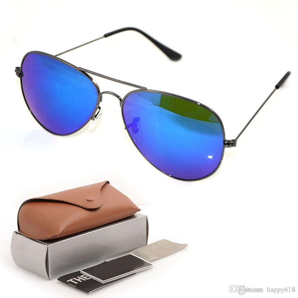 High Quality Womens Sun glasses Men Sunglasses New style Mirror sunglasses Designers pilot Sunglasses Glass glasses 58mm with Original cases