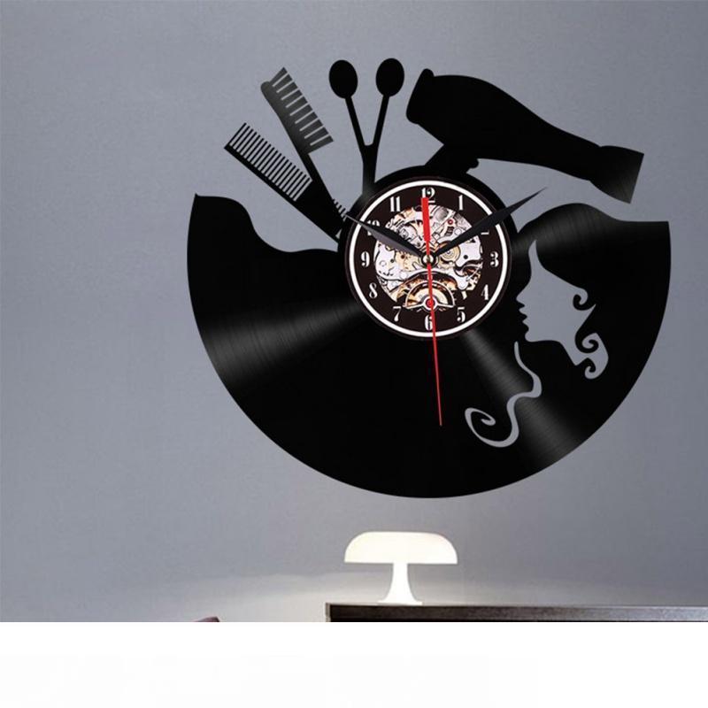 نوم 3D LED قص شعر فتاة الكوارتز الديكور ساعة ريترو سجل ساعة الحائط ديكور المنزل جدار الفن لغرفة الجلوس