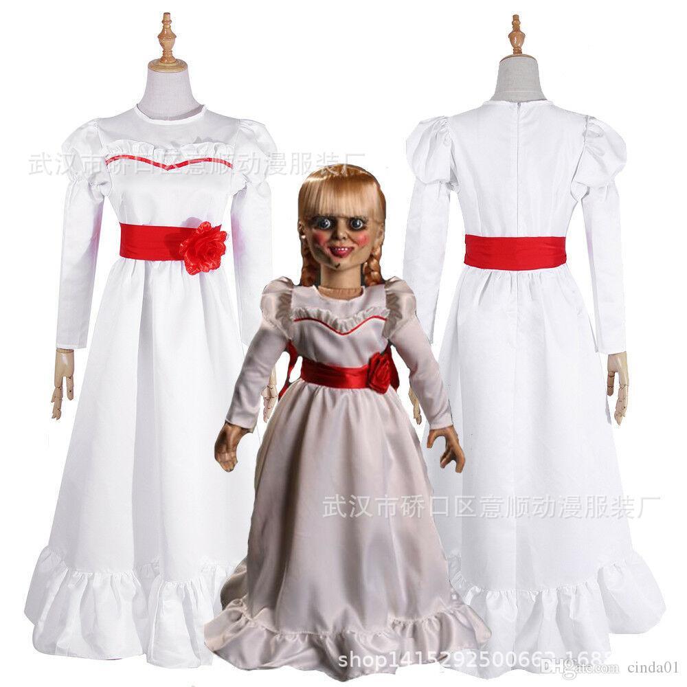 여자 아이 키즈 할로윈 의상 ConjingDoll 애나벨 화이트 드레스 호러 무서운 여성 착용 코스프레 화려한 드레스 trajes 드 mascote