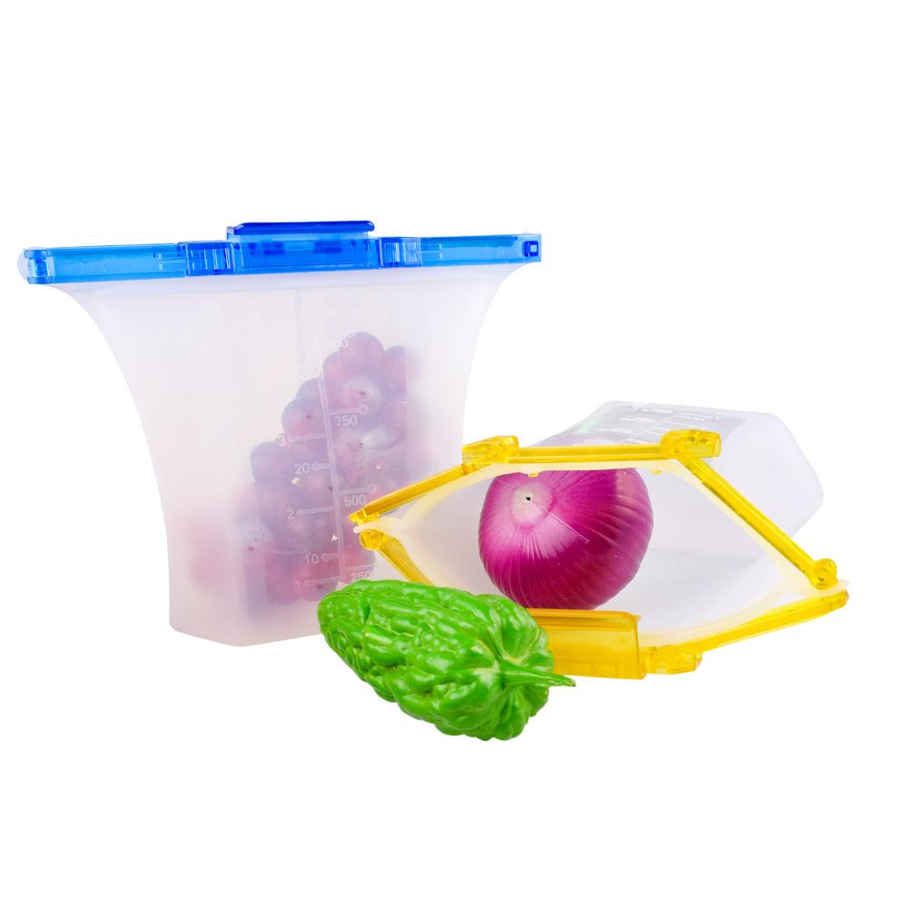 1000ml One Step Lock Leakproof Standing Silicone Bag Containers Sandwiches Liquid Snack Fruit Reusable Silicone Food Storage Bag LX2952