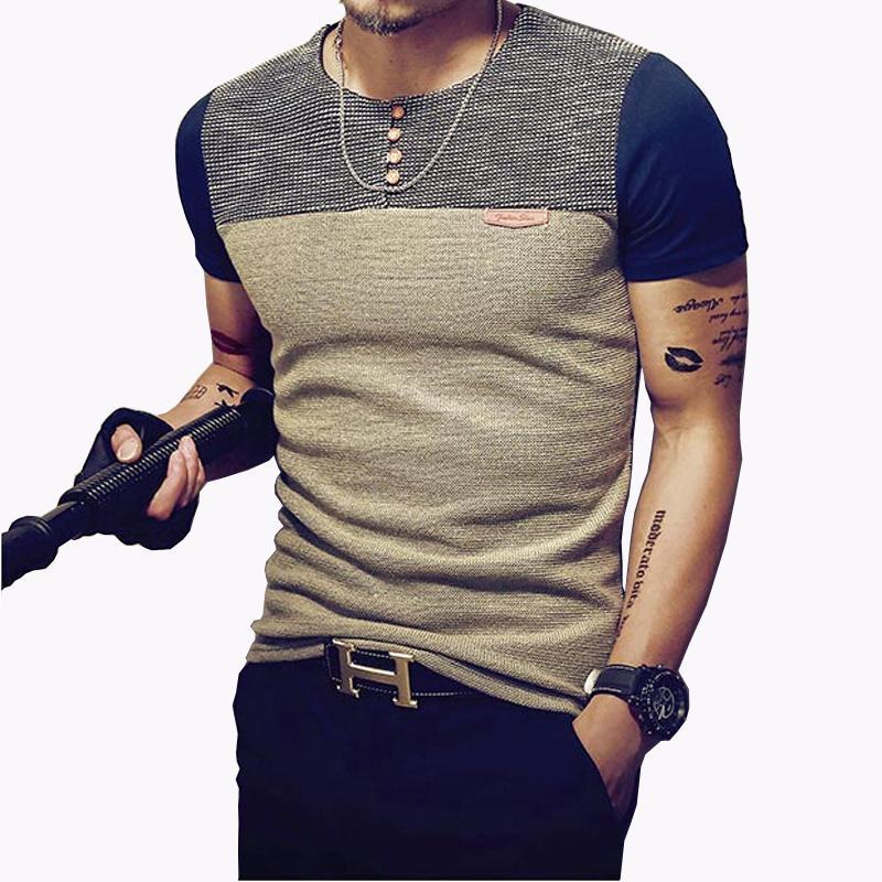 Casual Tshirt Fashion Patchwork T Shirt Men High Quality T-Shirt Short Sleeved Camisetas Slim Fit Tops Tees Slim