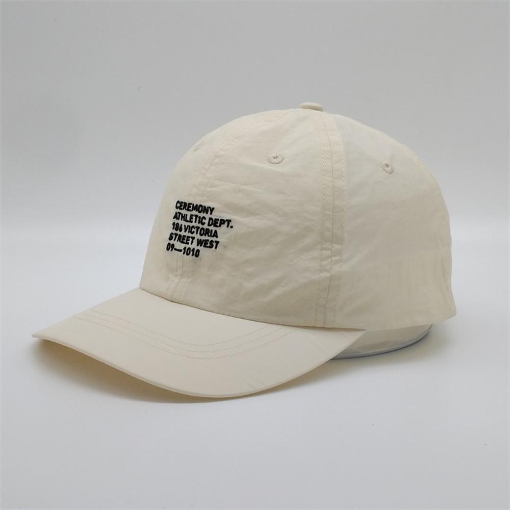 Cappello da baseball personalizzato non strutturato 6 pannello, cappello da padre in nylon in nylon all'ingrosso, ricamo OEM BACE BACE BACE BACE BACE RUOTABILE Sport Sport Estate Berretti da golf