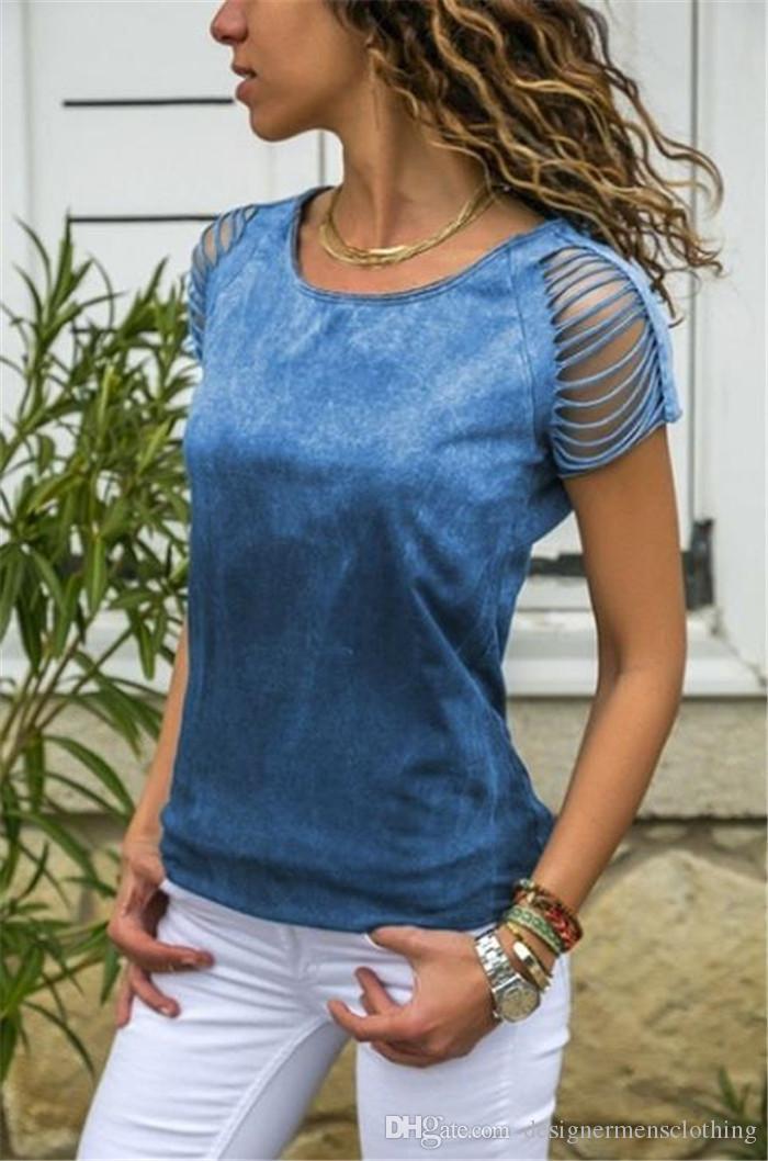 Estate Donne progettista magliette a maniche corte O-Collo scava fuori le parti superiori sexy teenager Fiore Tee femminile Abbigliamento