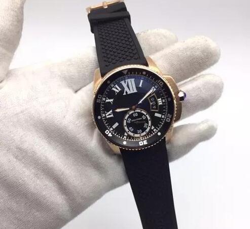 Automatic Diver Two Tone Rose Gold Caso pulseira de borracha preta esporte Mens Watch Movimento automático Calibre De W2CA0004 Homens Relógios frete grátis