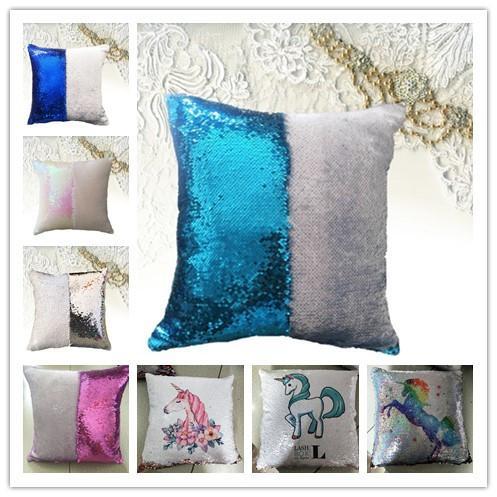 Sirena de almohada cubierta de lentejuelas de almohada cubierta sublimación del amortiguador Throw almohada funda de almohada decorativa que los regalos Cambio de color para niñas