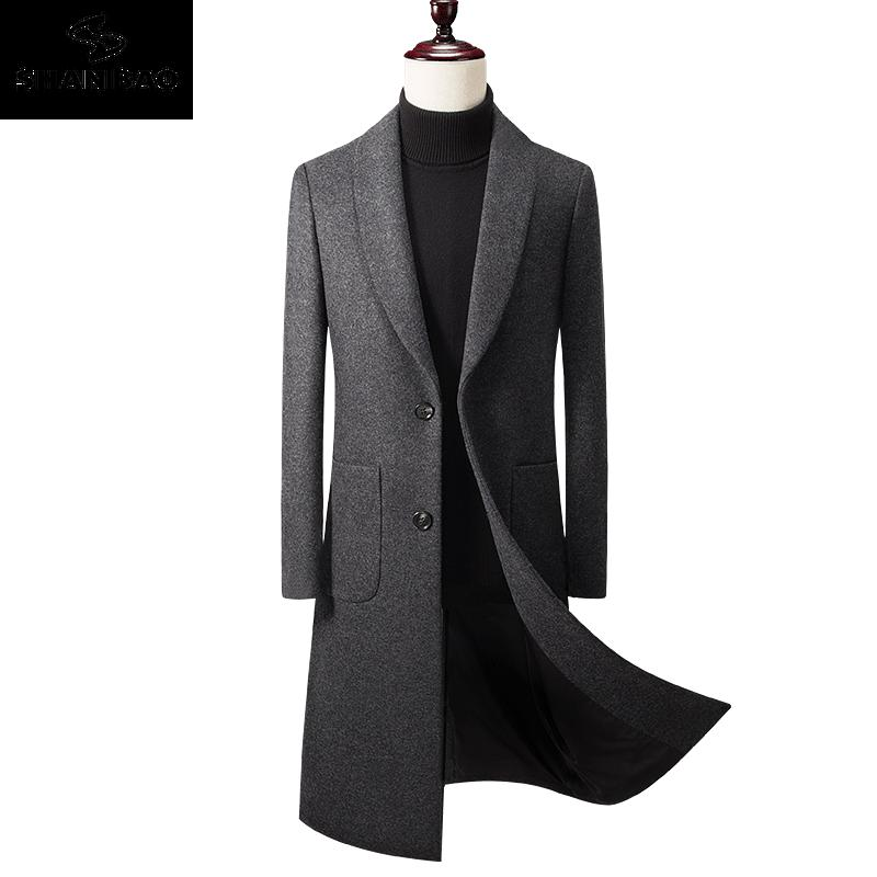 2019 Winter neue starke dünne warme Männer Wollmantel dunkelgrau Luxus hochwertige Markenkleidung Jugend beiläufige lange Wollmantel 9902