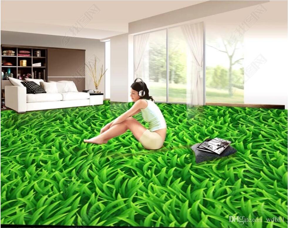 3d ПВХ полы пользовательские фото водонепроницаемый пол стены 3D зеленый газон Пол фон настенная живопись 3d настенные росписи обои