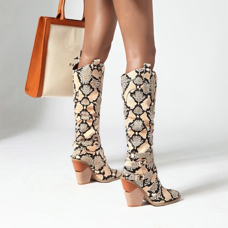 Heißer Verkauf- gedruckt kniehohen Blockabsatz Cowboy-Stiefel Frauenentwerfers Booties