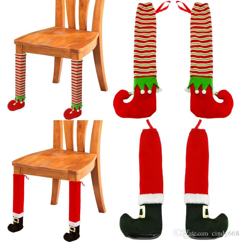 Christmas Creative Furniture Legs Cover Chair Table Leg Floor Protector Foot Cover Christmas Decorations Furniture Protector